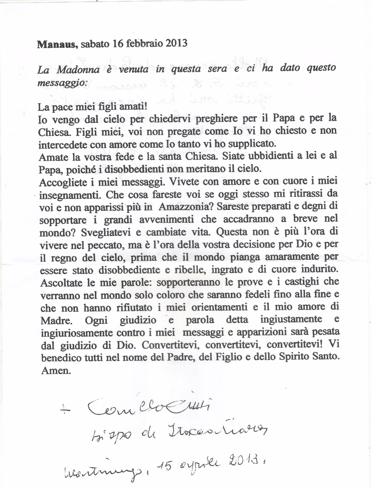 Mensagem da Virgem assinada pelo Bispo 001